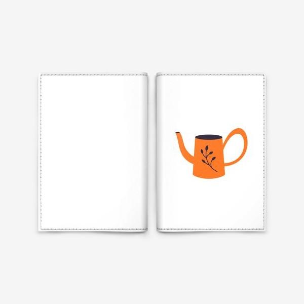 Обложка для паспорта «Симпатичная оранжевая лейка. Садоводство, сад, лето»