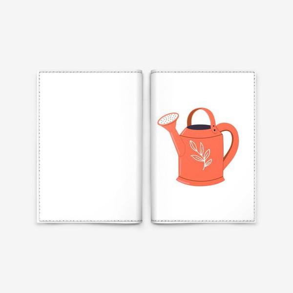 Обложка для паспорта «Симпатичная садовая оранжевая лейка. Садоводство, сад, лето»
