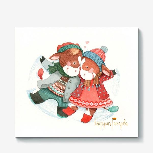 Холст «открытка к году быка»