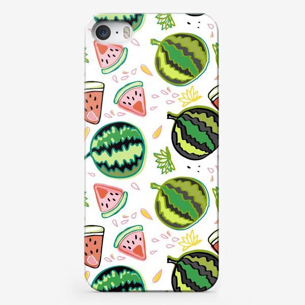 Чехол iPhone «Веселый паттерн с арбузами»