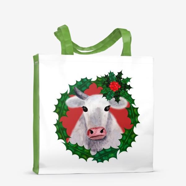 Сумка-шоппер «Новогодняя бурёнка Аленка в венке из остролиста»