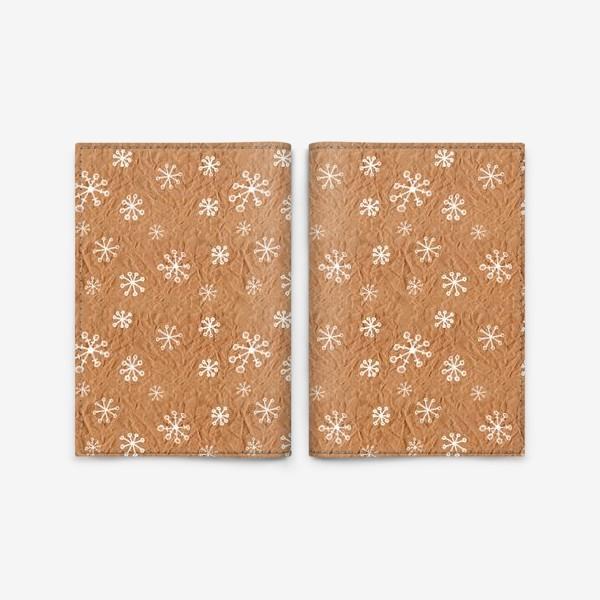 Обложка для паспорта «Белые снежинки нарисованные на крафт-бумаге - бесшовный паттерн»