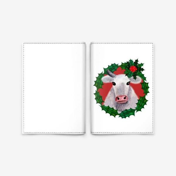 Обложка для паспорта «Новогодняя бурёнка Аленка в венке из остролиста»