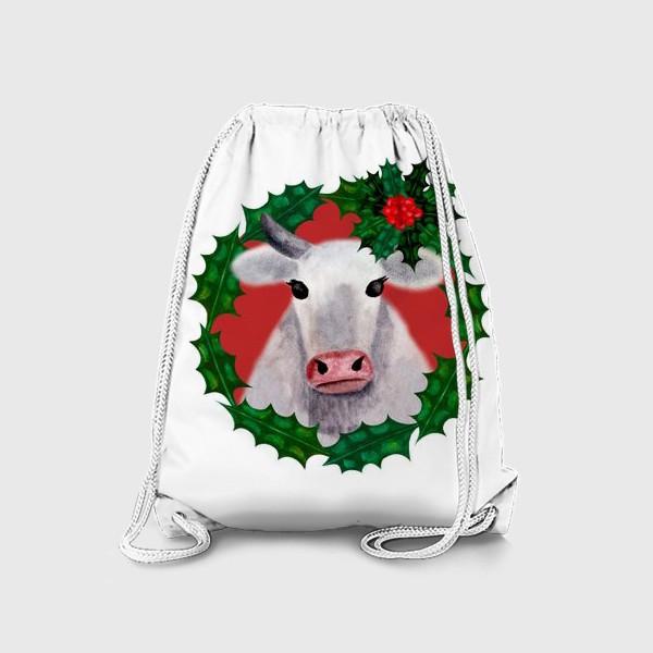 Рюкзак «Новогодняя бурёнка Аленка в венке из остролиста»
