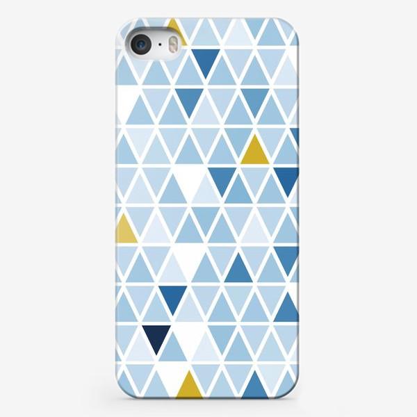 Чехол iPhone «Графика в бледно голубых тонах с треугольниками»