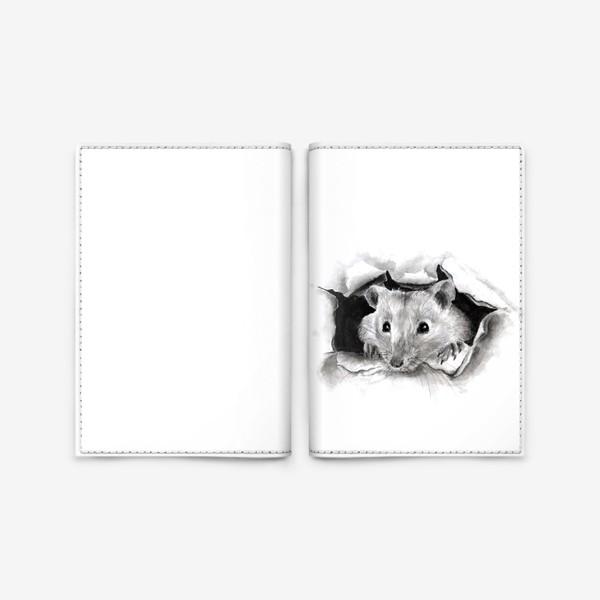 Обложка для паспорта «грызун крысенок выглядывает»