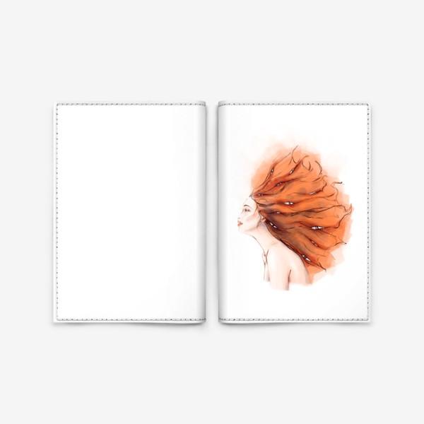 Обложка для паспорта «Рыжая девушка и глаза»