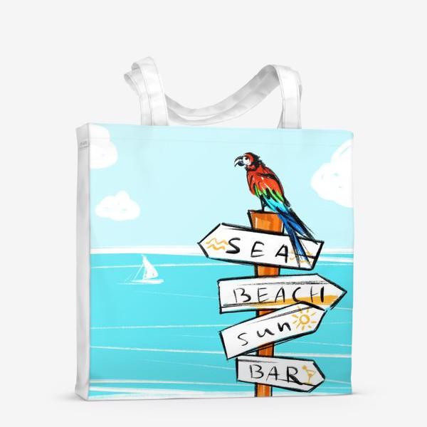 Сумка-шоппер «Попугай на пляже»