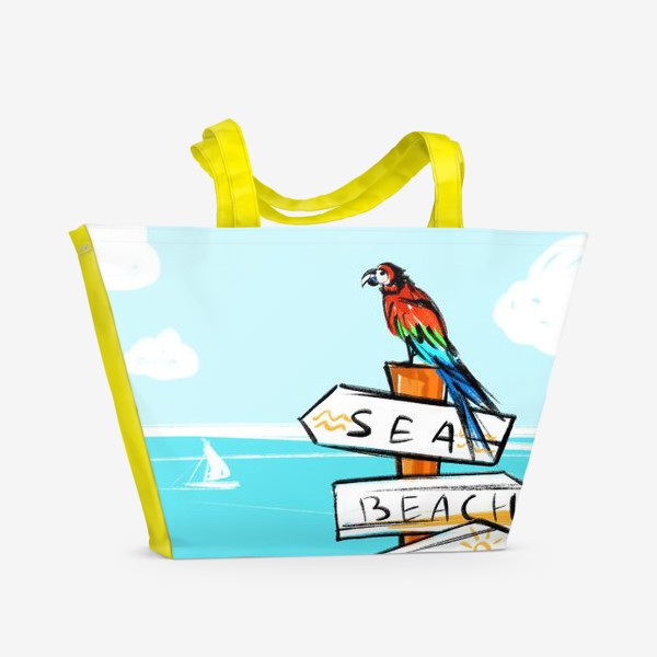 Пляжная сумка «Попугай на пляже»