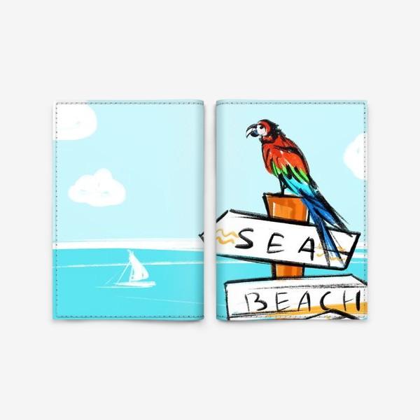 Обложка для паспорта «Попугай на пляже»