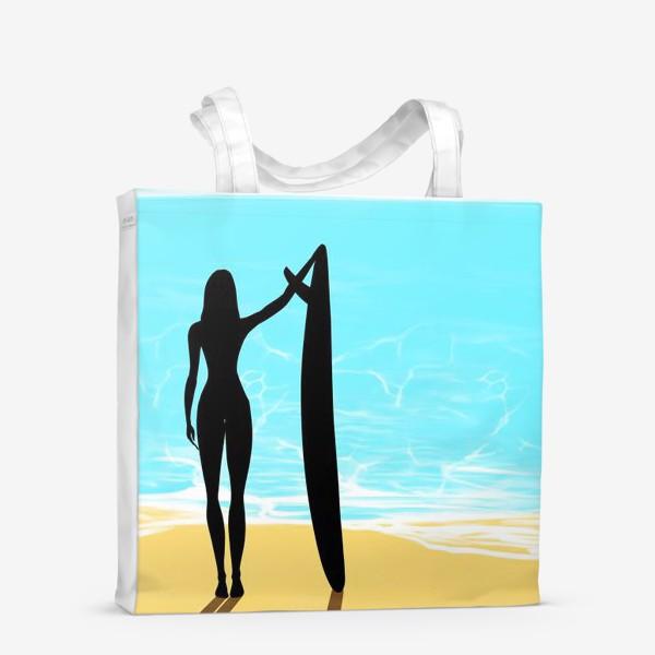 Сумка-шоппер «Девушка с доской для сёрфинга на пляже»