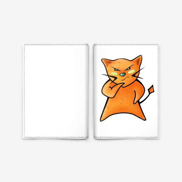 Обложка для паспорта «Рыжий кот строит планы по захвату мира»