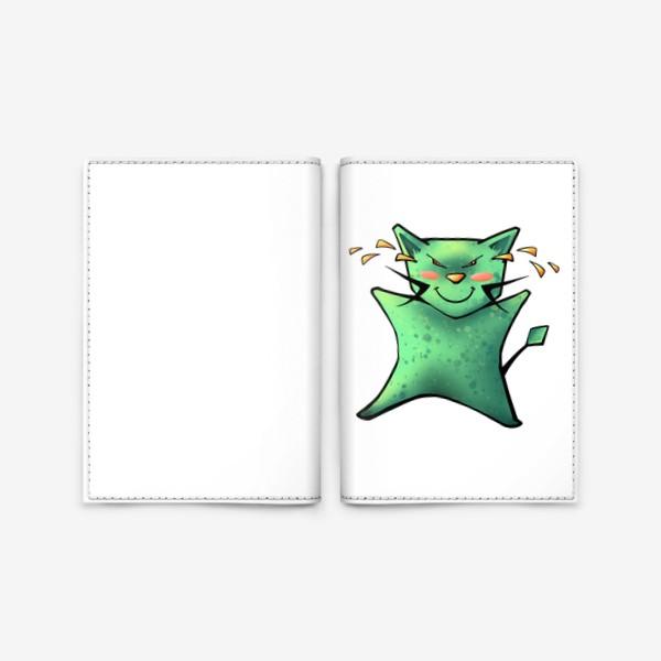 Обложка для паспорта «Счастливый до слез кот»
