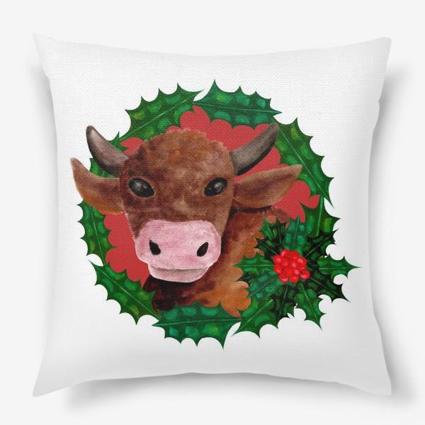 Подушка «Новогодний бык в венке из остролиста»