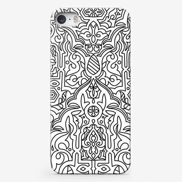 Чехол iPhone «Черно-белый витраж. Раскраска»
