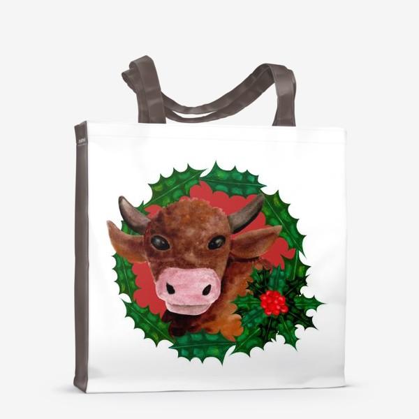 Сумка-шоппер «Новогодний бык в венке из остролиста»