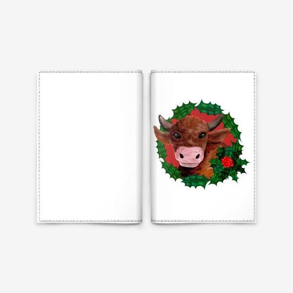 Обложка для паспорта «Новогодний бык в венке из остролиста»