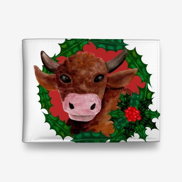 Кошелек «Новогодний бык в венке из остролиста»