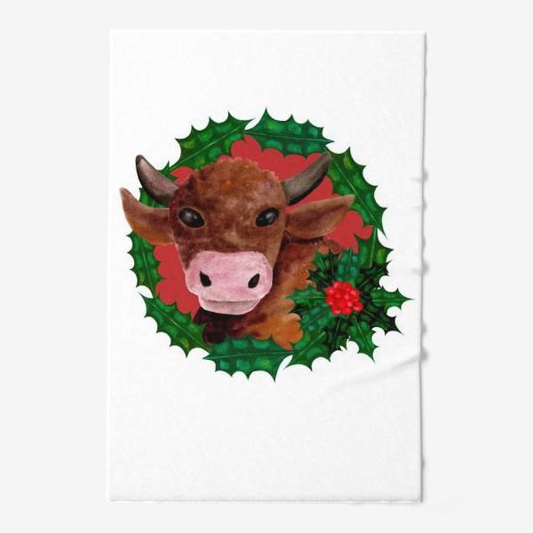 Полотенце «Новогодний бык в венке из остролиста»