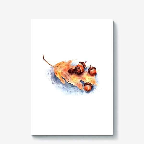 Холст «Осенний принт желтый лист и желуди»