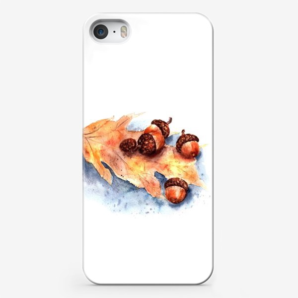 Чехол iPhone «Осенний принт желтый лист и желуди»