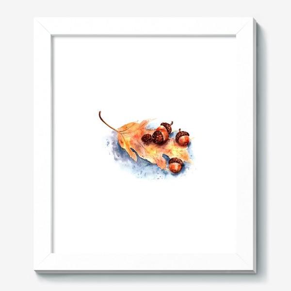 Картина «Осенний принт желтый лист и желуди»