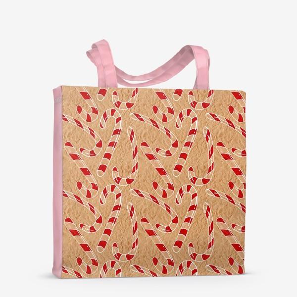 Сумка-шоппер «Рождественские леденцы нарисованные на мятой крафт бумаге»