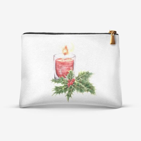 Косметичка «Уютное Рождество свеча и остролист»