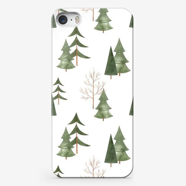 Чехол iPhone «Зимний лес. Абстрактный акварельный паттерн»