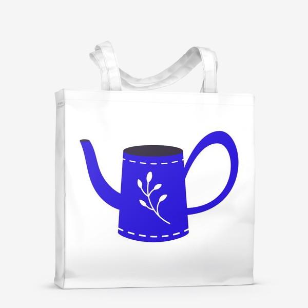 Сумка-шоппер «Симпатичная синяя лейка. Садоводство, сад, лето»