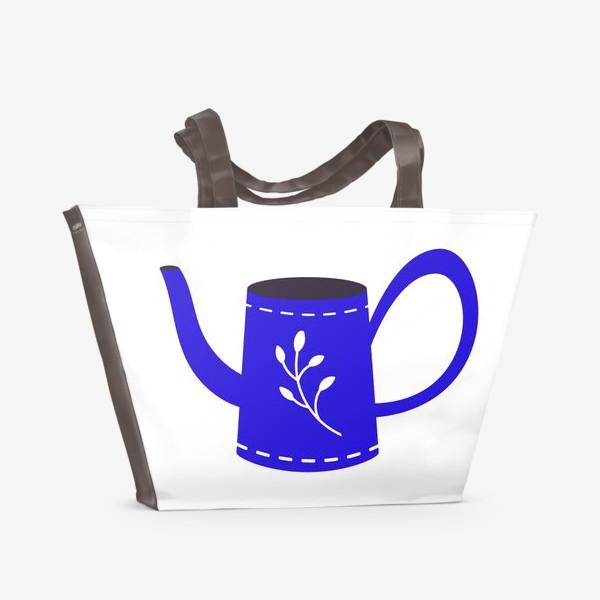 Пляжная сумка «Симпатичная синяя лейка. Садоводство, сад, лето»