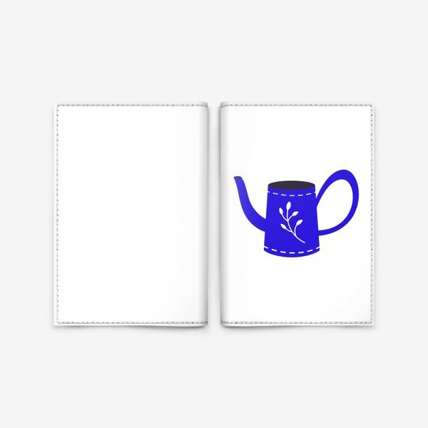 Обложка для паспорта «Симпатичная синяя лейка. Садоводство, сад, лето»