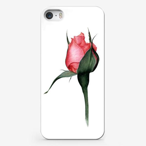 Чехол iPhone «Нежный бутон розы ботаническая иллюстрация акварель»