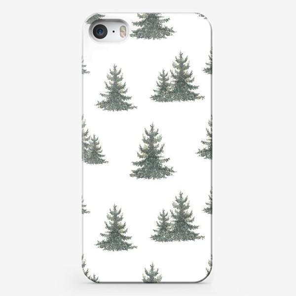 Чехол iPhone «Хвойный лес, акварельный паттерн»