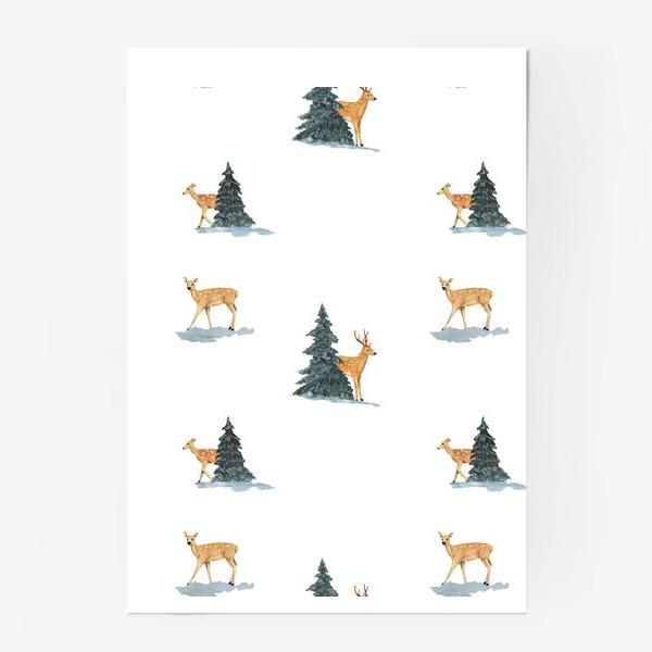 Постер «Олени в заснеженом зимнем лесу. Новогодний акварельный паттерн»