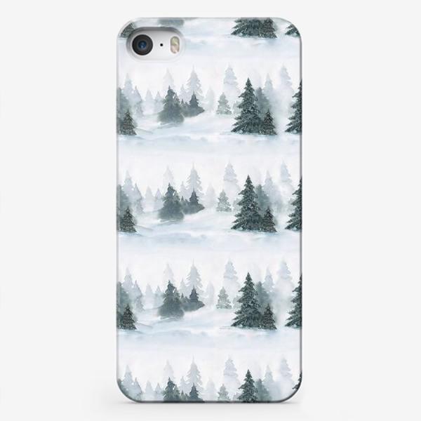 Чехол iPhone «Зима в лесу, новогодний акварельный паттерн»