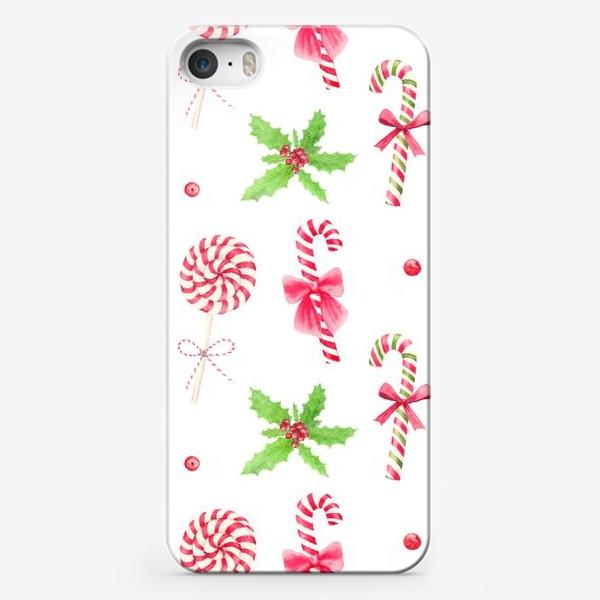 Чехол iPhone «Новый год, акварельный паттерн с рождественскими конфетами и веткой остролиста»