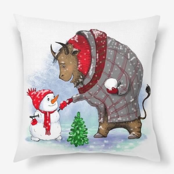 Подушка «Бык и снеговик. »