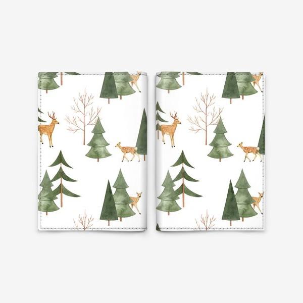 Обложка для паспорта «Зимний лес. Акварельный паттерн с оленями и абстрактными деревьями на белом фоне»