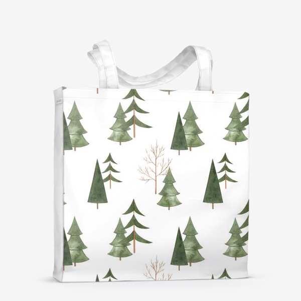 Сумка-шоппер «Зимний лес. Абстрактный акварельный паттерн»