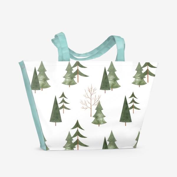 Пляжная сумка «Зимний лес. Абстрактный акварельный паттерн»