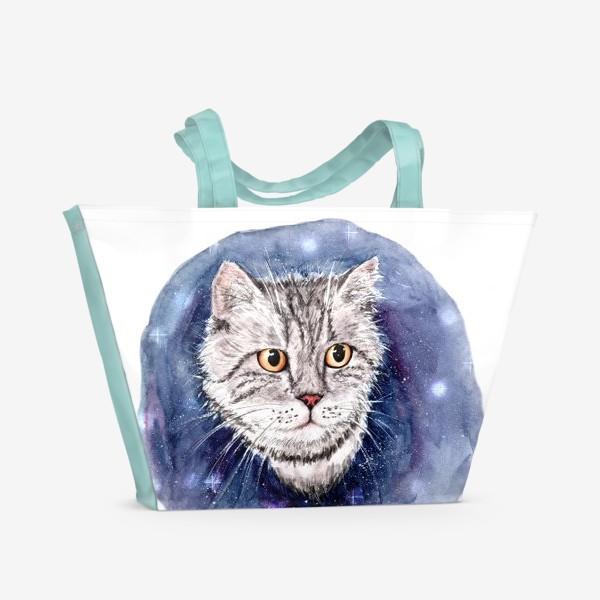 Пляжная сумка «Котик в космосе»