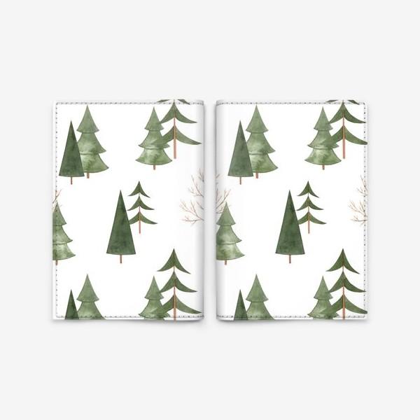 Обложка для паспорта «Зимний лес. Абстрактный акварельный паттерн»