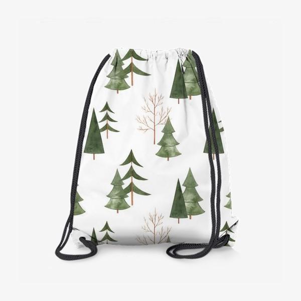 Рюкзак «Зимний лес. Абстрактный акварельный паттерн»