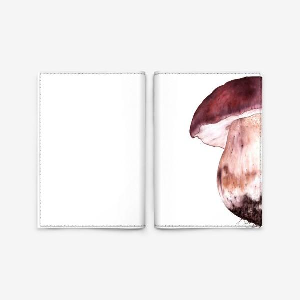 Обложка для паспорта «Гриб боровик осенняя ботаническая иллюстрация акварель»