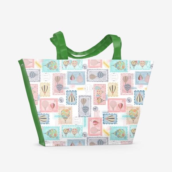 Пляжная сумка «Почтовые марки, паттерн»