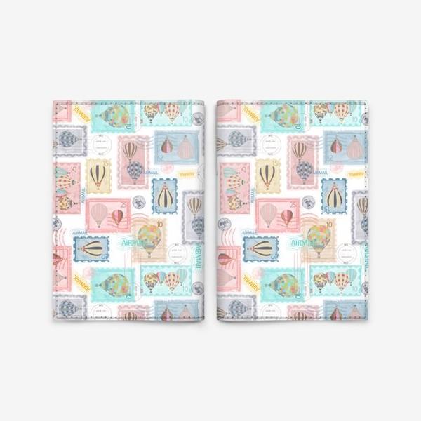 Обложка для паспорта «Почтовые марки, паттерн»