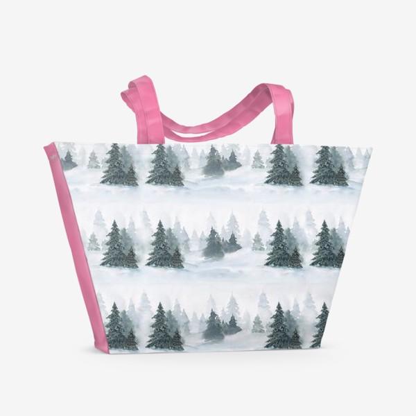 Пляжная сумка «Зима в лесу, новогодний акварельный паттерн»
