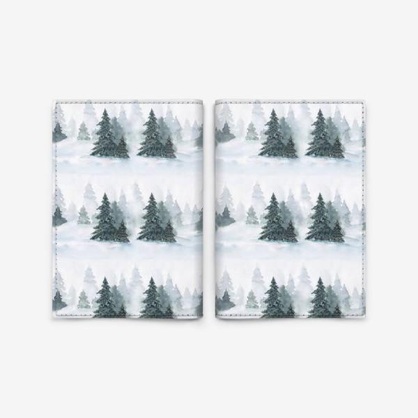 Обложка для паспорта «Зима в лесу, новогодний акварельный паттерн»