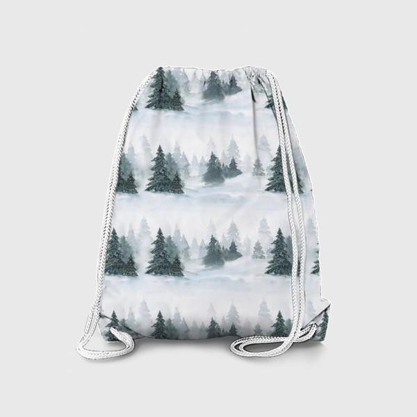 Рюкзак «Зима в лесу, новогодний акварельный паттерн»
